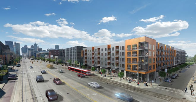 A rendering for the future 204-unit Woodward West apartment complex at 3439 Woodward Ave. in Midtown Detroit