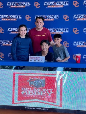Cape Coral tennis player Matthew Orozco announced his signing with Division II Belmont Abbey at a ceremony Wednesday.