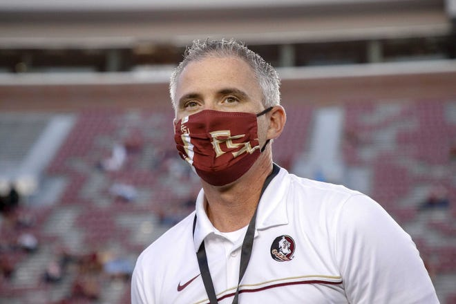 Head coach Mike Norvell of the Florida State Seminoles on the sidelines during the game against the North Carolina Tar Heels at Doak Campbell Stadium on Bobby Bowden Field on October 17, 2020 in Tallahassee, Florida. (Photo by Don Juan Moore/Character Lines)