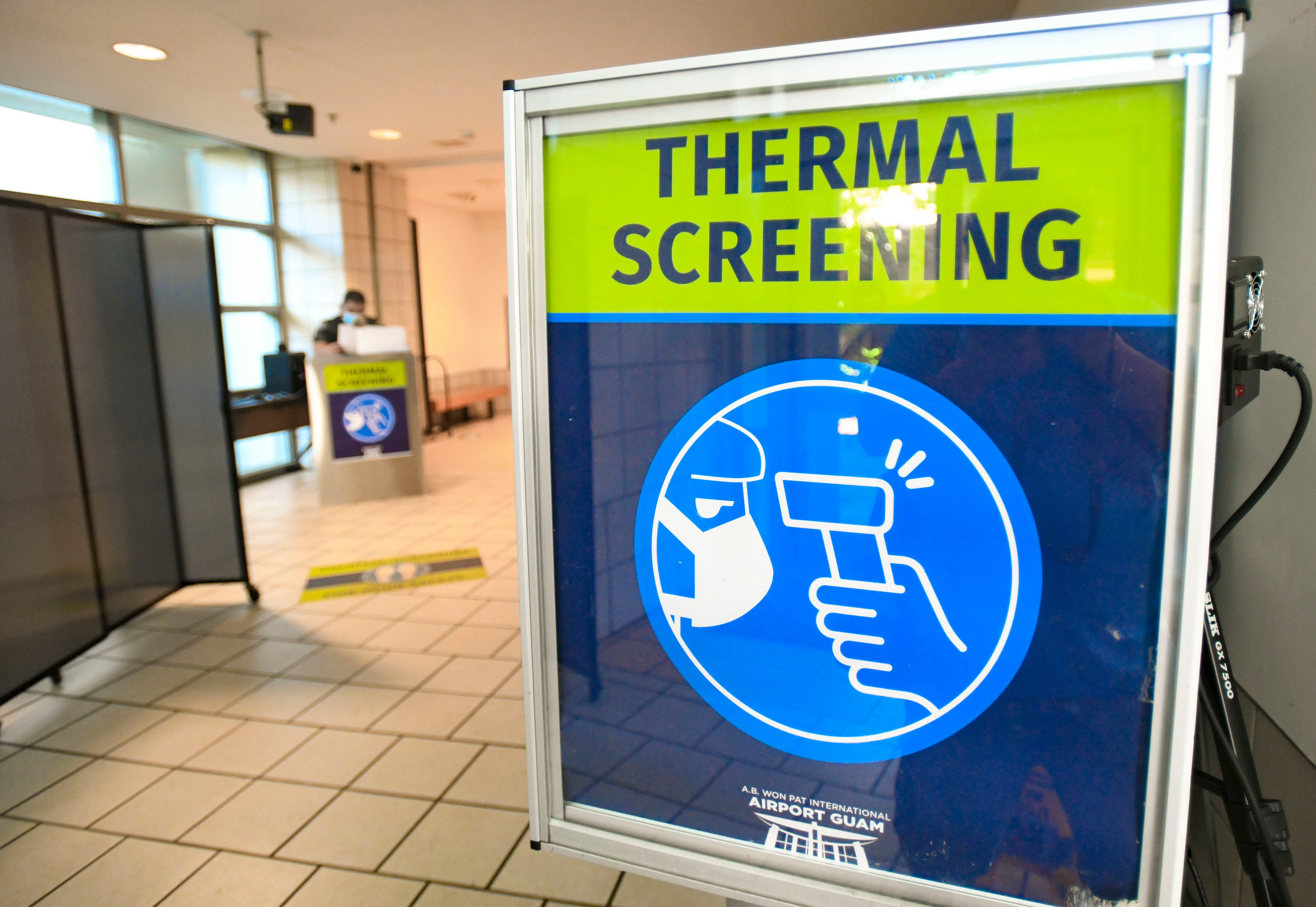 Due to the ongoing COVID-19 pandemic, patrons and travelers visiting to the Antonio B. Won Pat International Airport can expect to undergo a thermal sreening for body temperature upon their entry to the facility as seen here on Thursday, Nov. 19, 2020