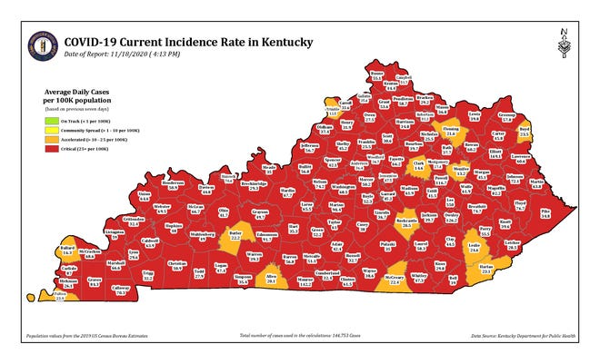 """This color-coded map from the Kentucky Department for Public Health shows the current COVID-19 incidence rate in counties across the state as of Wednesday afternoon. Henderson, Union and Webster counties remained in the """"red"""" or critical level."""