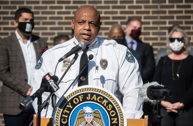 Jackson Police Chief James Davis speaks during a ribbon cutting and unveiling ceremony for Jackson's new Real Time Command Center at 2304 Riverside Drive in Jackson, Miss., Thursday, Nov. 19, 2020.