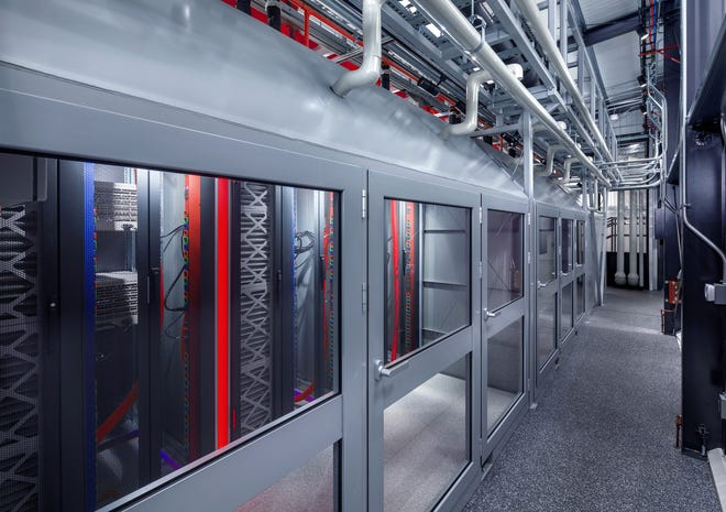 Technology hubs housed at FedEx locations, the first being in Memphis, will use Switch MOD 15 data centers designed to fit in air-transport containers. An interior view of the data center is pictured here.