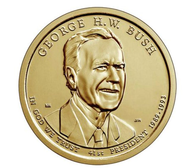 The President George H.W. Bush $1 collectible coin from the U.S. Mint was created from a design by Montgomery artist Elana Hagler. It will be available for purchase beginning Dec. 4.
