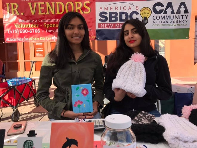 Tulsi Patel, left, and Simran Grover, right, are the owners of Tutti & Frutti. Together they sell their art and crocheted items at the Las Cruces Farmers and Crafts Market in Las Cruces as part of the Kids Can Jr. Vendors program.