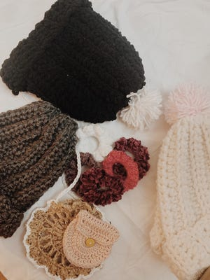 Crocheted items created by Simran Grover, one of the young co-owners of Tutti & Frutti.