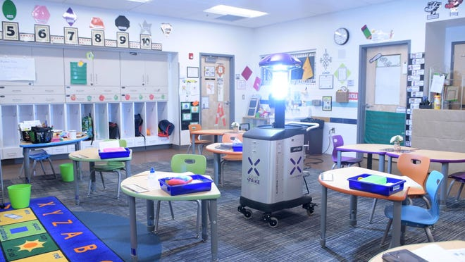 LightStrike robots are deployed at Ruidoso schools in Ruidoso, New Mexico as a means to disinfect and sanitize the public school facilities.
