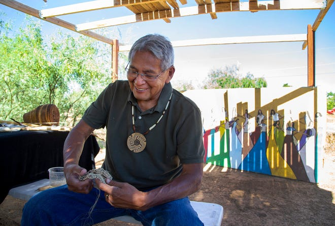 Royce Manuel, Salt River Pima-Maricopa Indian Community elder, used traditional materials create bow, arrows, baskets, and flutes.