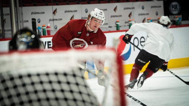 Christian Dvorak skates in on net during Arizona Coyotes' voluntary workouts this week at Gila River Arena.