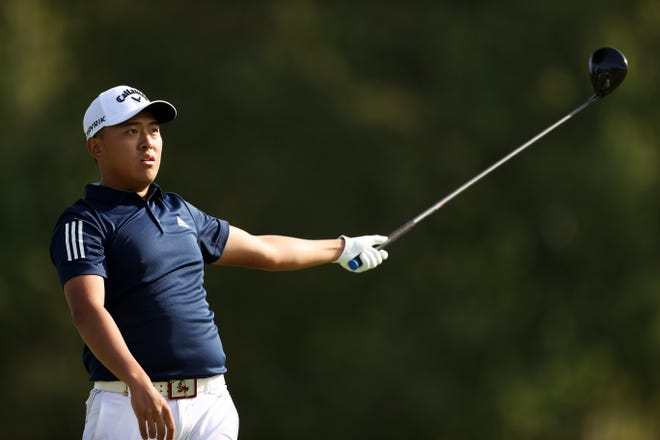 MAMARONECK, NEW YORK - SEPTEMBER 18: Amateur Chun An Yu of Chinese Taipei reacts to his shot on the sixth tee during the second round of the 120th U.S. Open Championship on September 18, 2020 at Winged Foot Golf Club in Mamaroneck, New York. (Photo by Gregory Shamus/Getty Images)