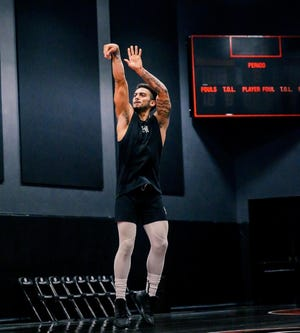 Markus Howard trains at The PHHacility in Phoenix during a pre-NBA draft workout.