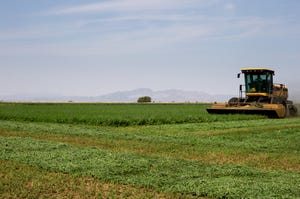 Alfalfa is cut in a field on Sept. 17, 2020, on the Colorado River Indian Reservation near Poston, Arizona.