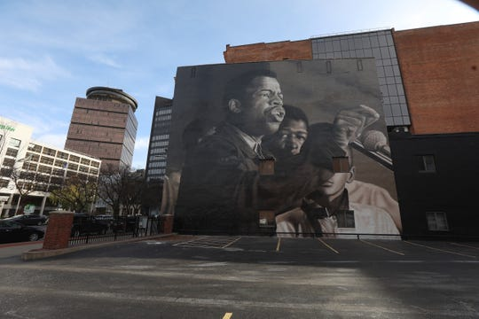 A view of the finished Rep. John Lewis portrait on State Street in Rochester on Thursday, Nov. 19, 2020.