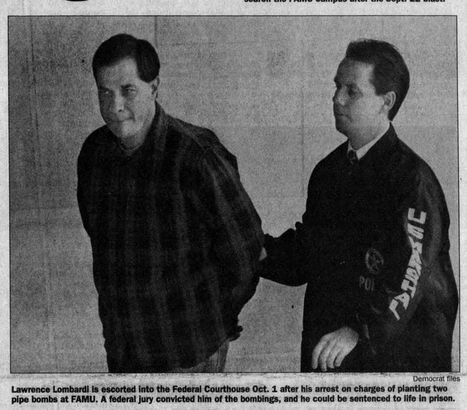 Lawrence Lombardi is escorted into the federal courthouse in 1999 after this arrest on charges of planting pipe bombs at FAMU.