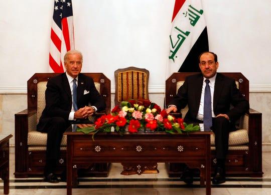 U.S. Vice President Joe Biden, left, meets with Iraqi Prime Minister Nouri al-Maliki in Baghdad, Iraq, Jan. 23, 2010.