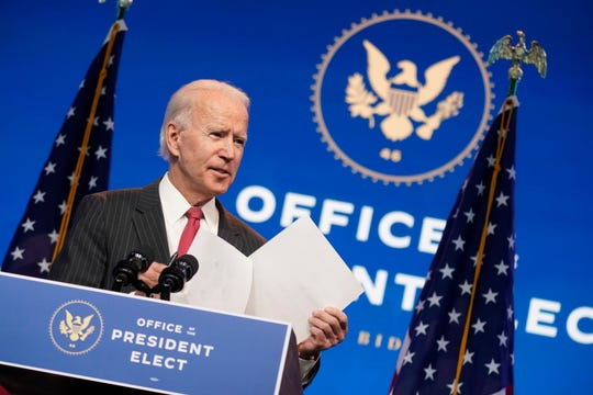 President-elect Joe Biden, accompanied by Vice President-elect Kamala Harris, speaks at The Queen theater, Thursday, Nov. 19, 2020, in Wilmington, Delaware.