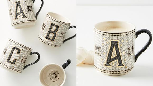Best gifts from Anthropologie: Tiled Margo Monogram Mug