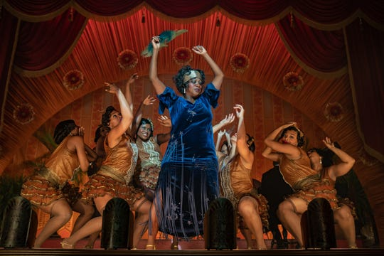 """Viola Davis (center) is a magnetic presence as the title blues singer of Netflix's """"Ma Rainey's Black Bottom,"""" a new adaptation of August Wilson's 1982 play."""