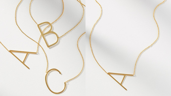 Best gifts from Anthropologie: Block Letter Monogram Necklace