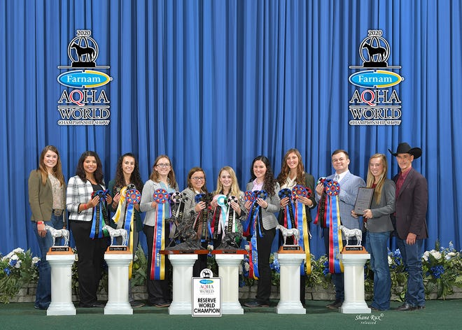 The West Texas A&M University horse judging team won the reining championship co-hosted by the National Reining Horse Association and American Quarter Horse Association on Nov. 7 and was named reserve champion of the American Quarter Horse Association contest Nov. 9.