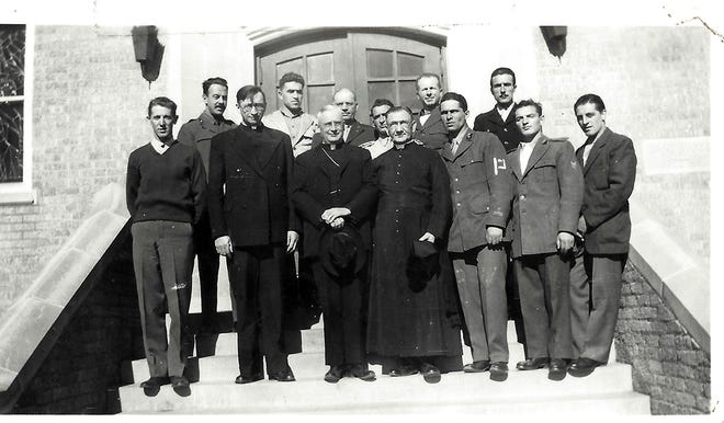 Italian POWs and others are seen at the dedication of St. Mary's Catholic Church in Umbarger on Dec. 8, 1945.