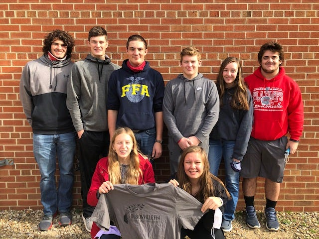 Members of the Loudonville nature interpretation team are, from left, standing, Bo Regan, Brett Carnegie, Grant Portz, Corbin Davis, Linde Hahn and Peyton Regan; and sitting, Jenna Book and Sidney Portz.