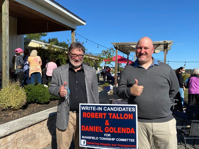 Mansfield write-in candidates Robert Tallon (left) and Daniel Golenda were elected to two seats on the township committee.