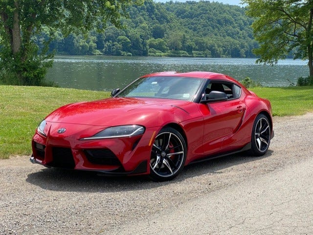 A wide stance and low profile give the 2020 Toyota Supra a racer appearance.