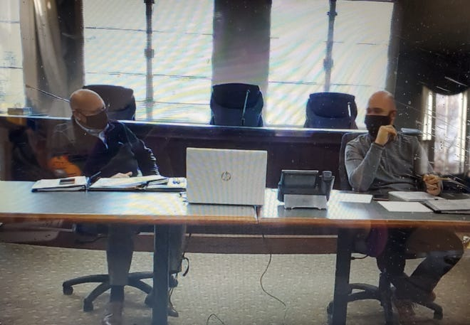 Commissioner Jack Manning and Chairman Dan Camp during the livestream of a recent Beaver County Board of Commissioners meeting.