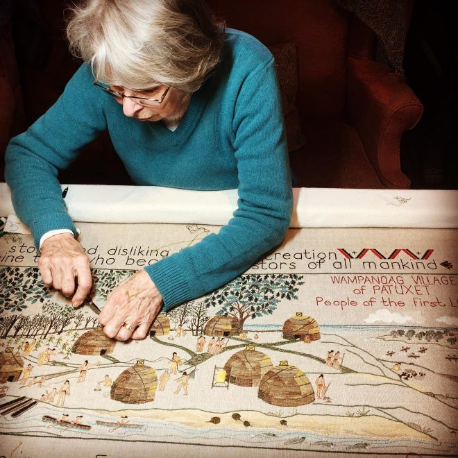 Volunteers have put in many hundreds of hours creating the extensive embroidery project depicting Plymouth in its early days prior to and after colonization.