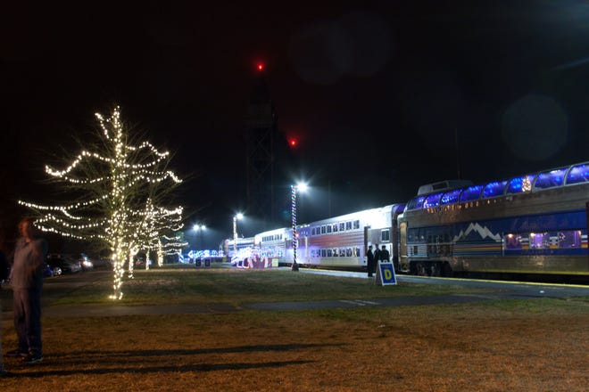 Cape Cod Central Railroad's Polar Express train gets ready to roll during a past Christmas season. [COURTESY OF CAPE COD CENTRAL RAILROAD]