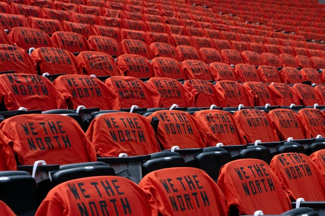 T-shirts rest on seats at Scotiabank Arena before Game 5 of the NBA Finals between the Golden State Warriors and Toronto Raptors in Toronto in June 2019. The Canadian government has denied a request by the NBA and the Raptors to play in Toronto amid the pandemic.