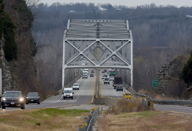 Traffic flows across the Missouri River bridge on Interstate 70 near Rocheport. Construction on the new bridge is anticipated to begin this fall. Completion is scheduled for December 2024.