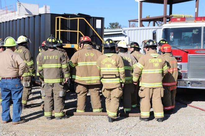 Spencer Heppner and Gregory Sowl of Chippewa Township Fire Department participate in the Responding to Oilfield Emergencies Training.