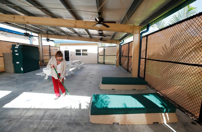 The safe zone at First Step Shelter provides beds and picnic tables to people who can stay there for a few hours or overnight.