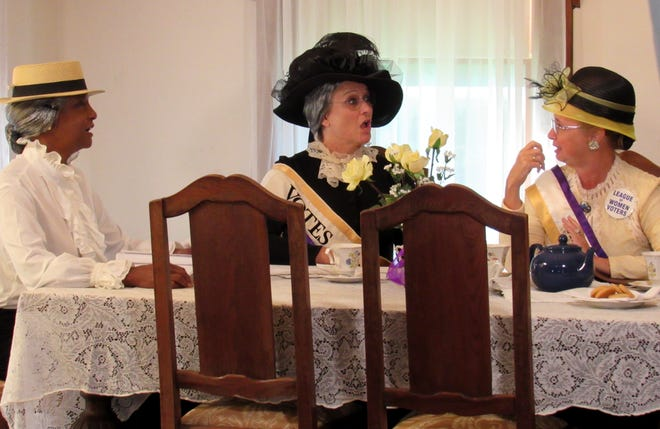 """Awilda Hamilton as Mary McLeod Bethune, Kathy Reichard-Ellavsky as Alice Scott Abbott and Kim Medley as Carrie Chapman Catt, rehearse during the filming of """"Echoes of Suffrage: Tenacious & Trailblazing,"""" an AAUW Flagler project, directed and produced by Xtreme Destiny Studios."""