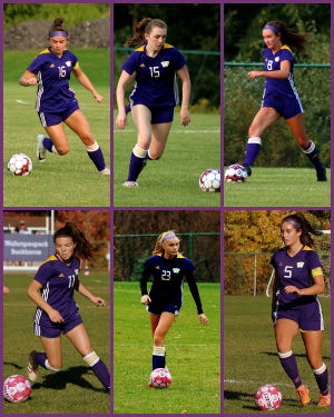 Six Lady Bucks were named as Lackawanna Soccer League All Stars. First Team members are Katie Mancino (top left) Meg Desmet (top center) Devon Kiesendahl (top right) Jacqui Weber (bottom left) and Abby Kimler (bottom center.) Aliah Balch (bottom right) was named to the Second Team. Additionally, Mancino was appointed to the All-State Team.