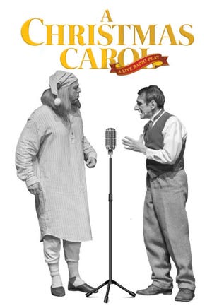 "This is a playbill for the Erie Playhouse production of ""A Christmas Carol — A Live Radio Play."""