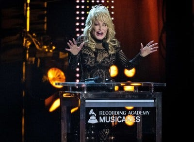 Dolly Parton addresses the crowd as the honoree for MusiCares Person of the Year 2019.