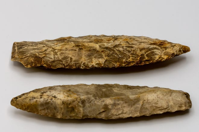 Agate Basin points, Out of the Attic items, are shown at the Des Moines County Heritage Center, 504 N. Fourth St., Burlington.