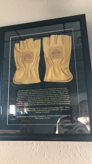 Fingerless deer hide gloves provided by the Elks to disabled veterans keep hands clean, warm and callous-free during self-propelled wheelchair travel. These gloves are on display at the Elks Lodge 106, 2200 Lincoln Ave., Keokuk.