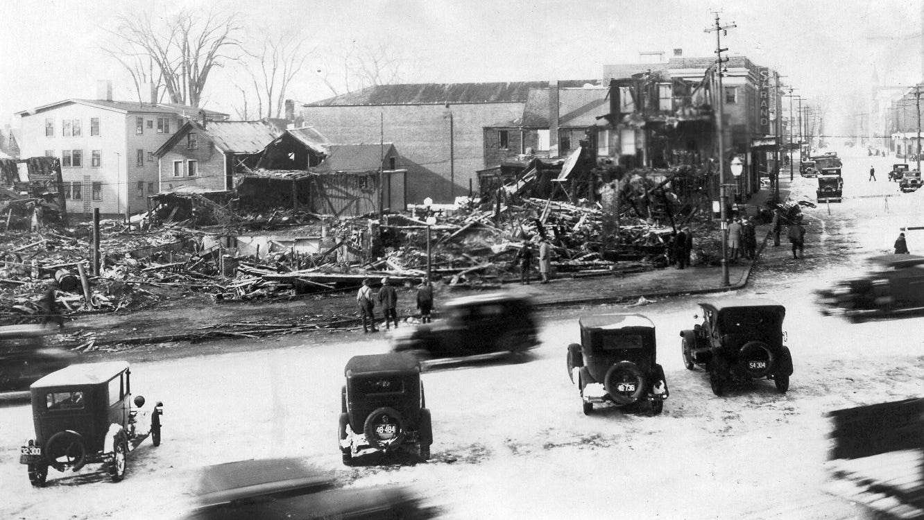 After the devastating 1932 fire in Dover, the Morrill Block was rebuilt on a smaller scale. The new building had only two floors and ran from Third Street to Second Street. No cause was discovered for the fire.
