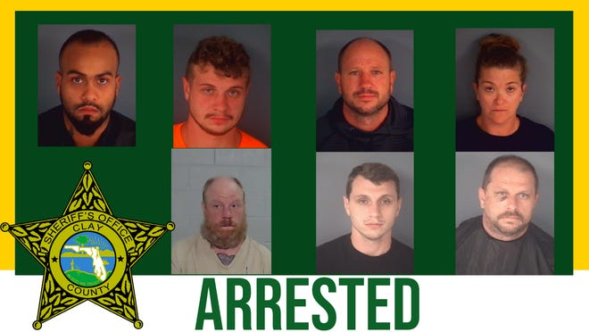 The seven people arrested in the homicide of Stephen Perry: Top row left to right — Augustino Morales, Caleb Roe, Kalvin Roe and Alexsandria McNabb. Bottom row left to right — Doug Roe, Jesse Roe and Travis Roe.