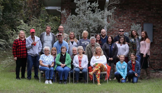 The 2018 family gathering known as Cracker Thanksgiving, held each year in Chiefland. Melodie Brunson of Jacksonville (in bright leggings in front row) says it's canceled this year because of the COVID-19 outbreak.