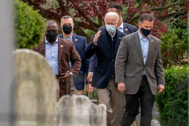 President-elect Joe Biden arrives at St. Joseph On the Brandywine Roman Catholic Church, Sunday, Nov. 15, 2020, in Wilmington, Del. (AP Photo/Andrew Harnik)
