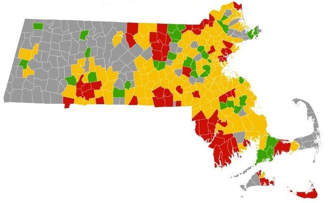 Massachusetts' COVID risk map, updated Nov. 19, 2020.