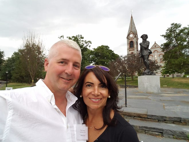 Paul Lemaire and his wife Maria are seen on a visit to Amherst, where their daughter attends college.