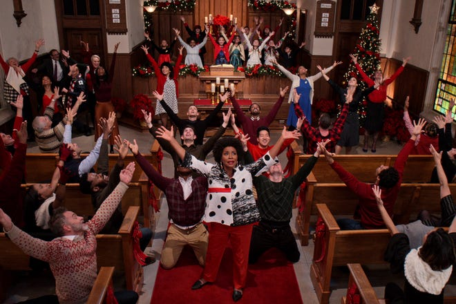 """This image released by Netflix shows Jenifer Lewis in a scene from """"Dolly Parton's Christmas on the Square."""""""
