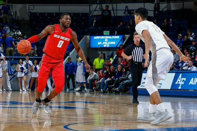 New Mexico Lobos guard Zane Martin played in a February game against the Air Force Falcons at Clune Arena in Colorado.