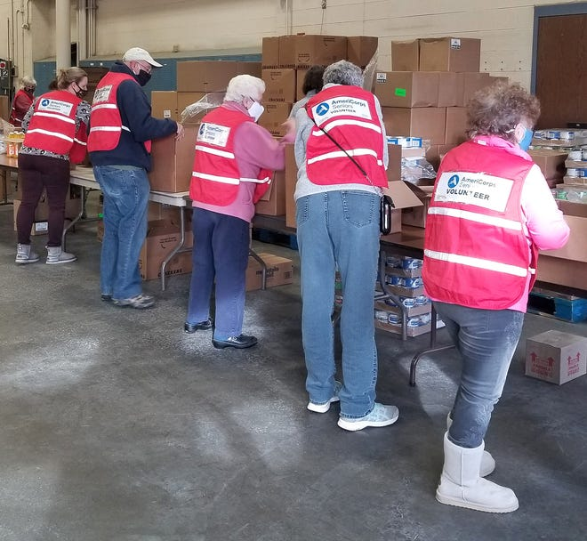 Nearly a dozen Steuben County AmeriCorps Seniors/RSVP volunteers packed 360 emergency shelf-stable food boxes Thursday.